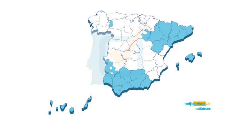 Zonas de España donde distribuye energía Endesa Distribución